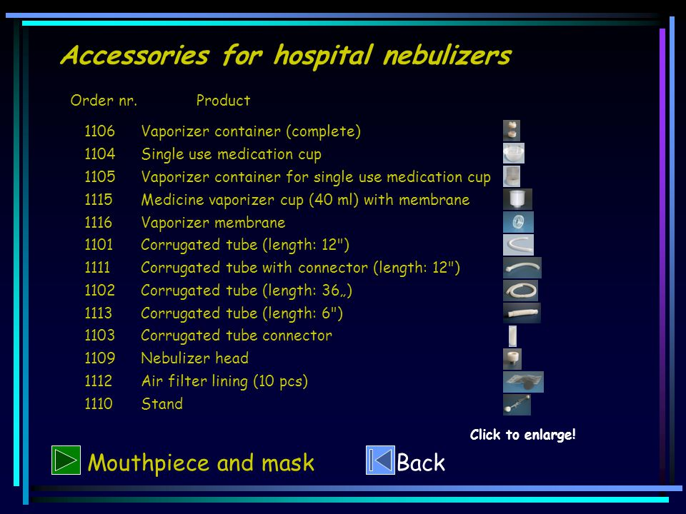 Accessories for hospital nebulizers Order nr.