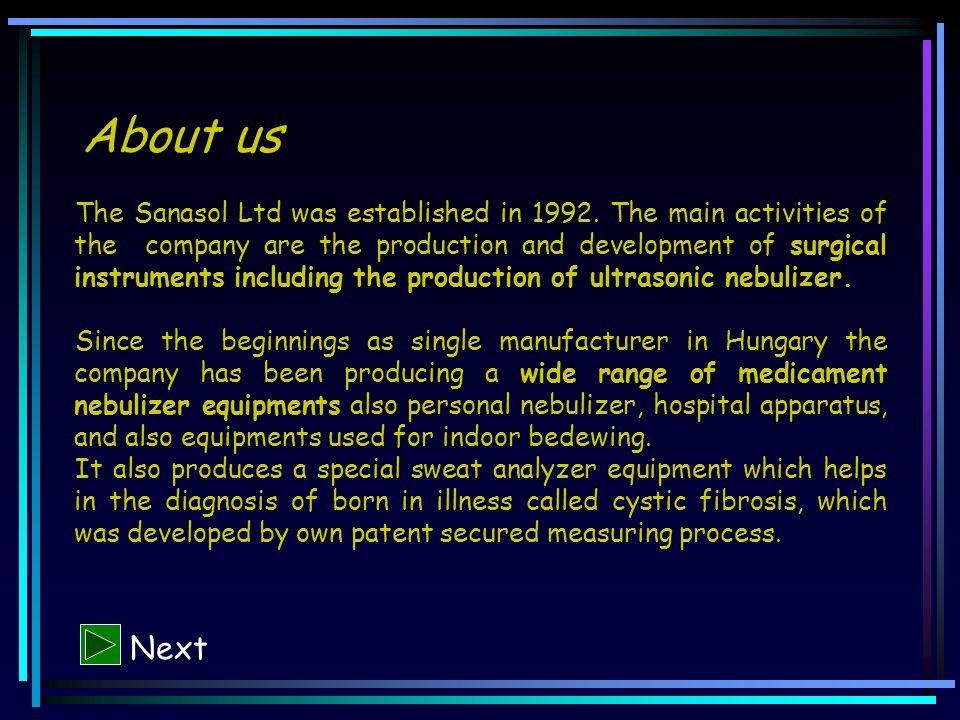 About us The Sanasol Ltd was established in 1992.