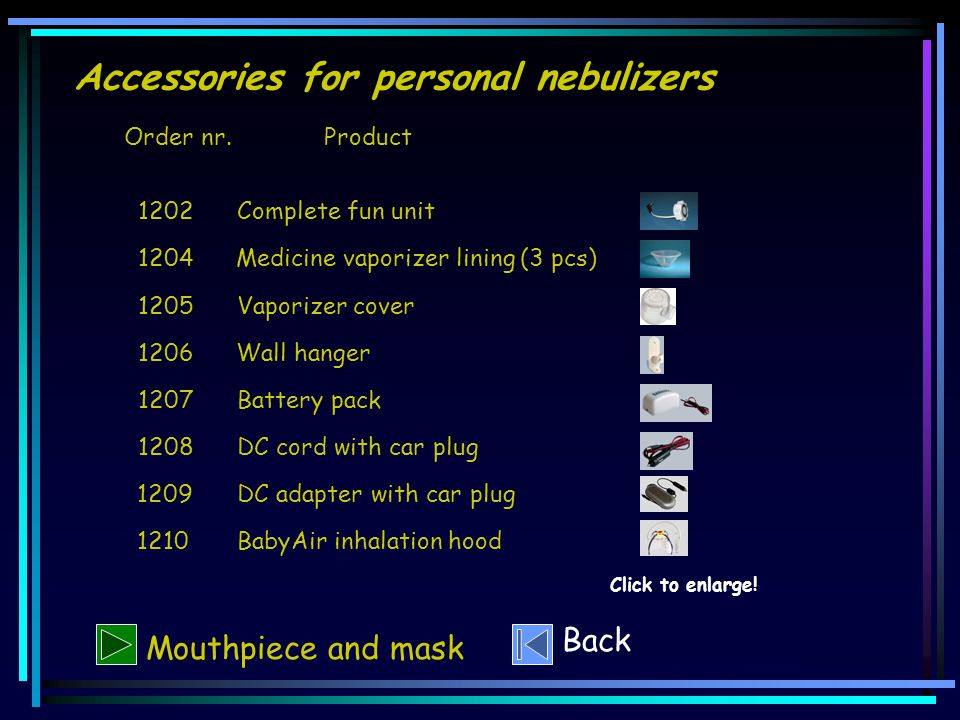 Accessories for personal nebulizers Mouthpiece and mask Click to enlarge.