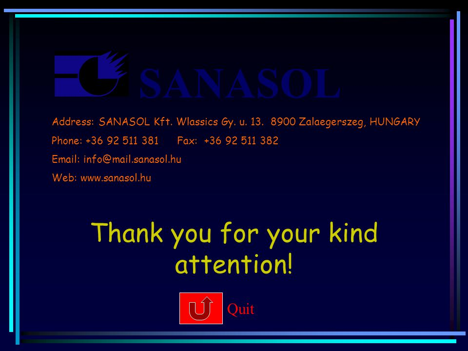 SANASOL Thank you for your kind attention. Quit Address: SANASOL Kft.