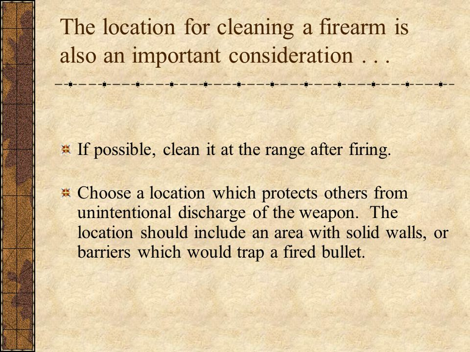 If possible, clean it at the range after firing.