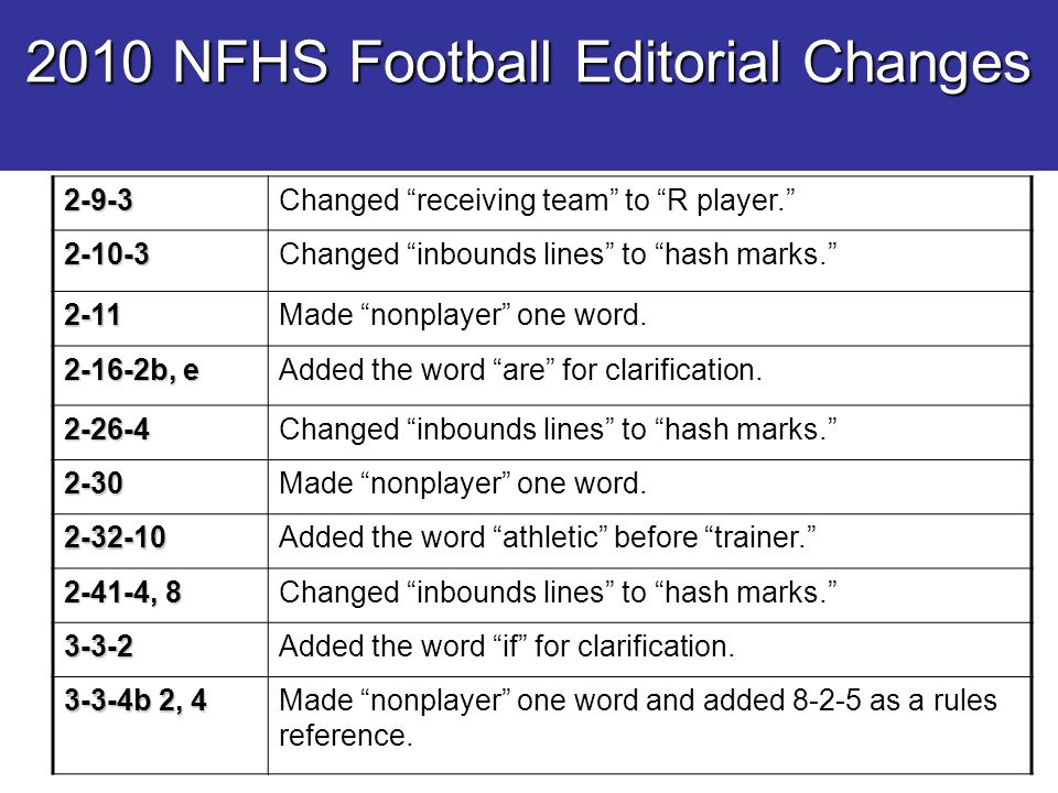 "2010 NFHS Football Editorial Changes 2-9-3Changed ""receiving team"" to ""R player."" 2-10-3Changed ""inbounds lines"" to ""hash marks."" 2-11Made ""nonplayer"""