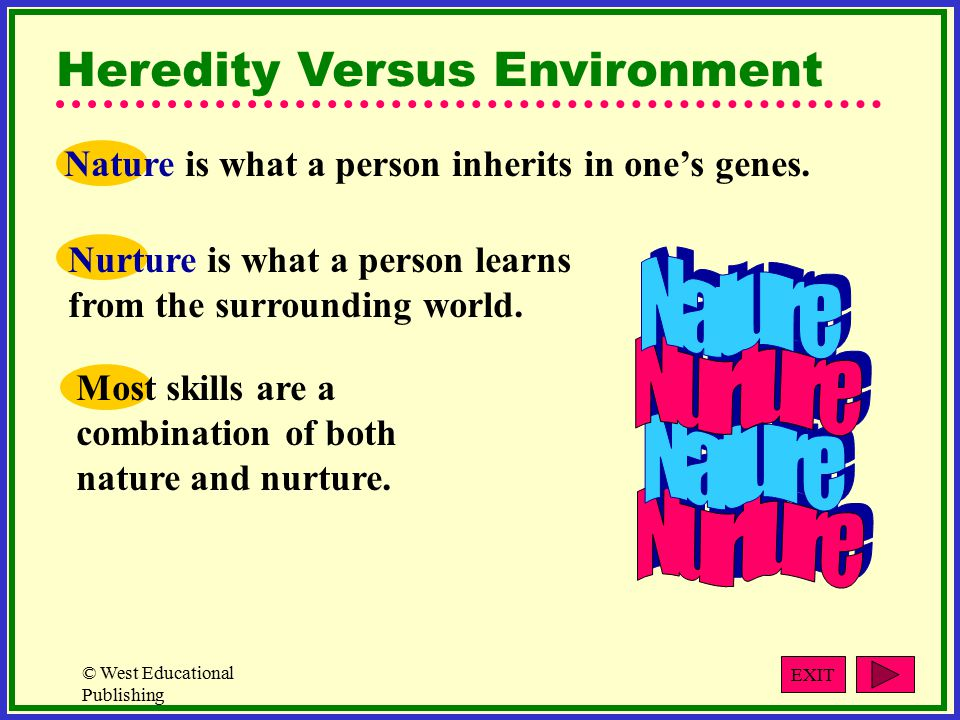 © West Educational Publishing The Role of Heredity Genes are the basic units of heredity.