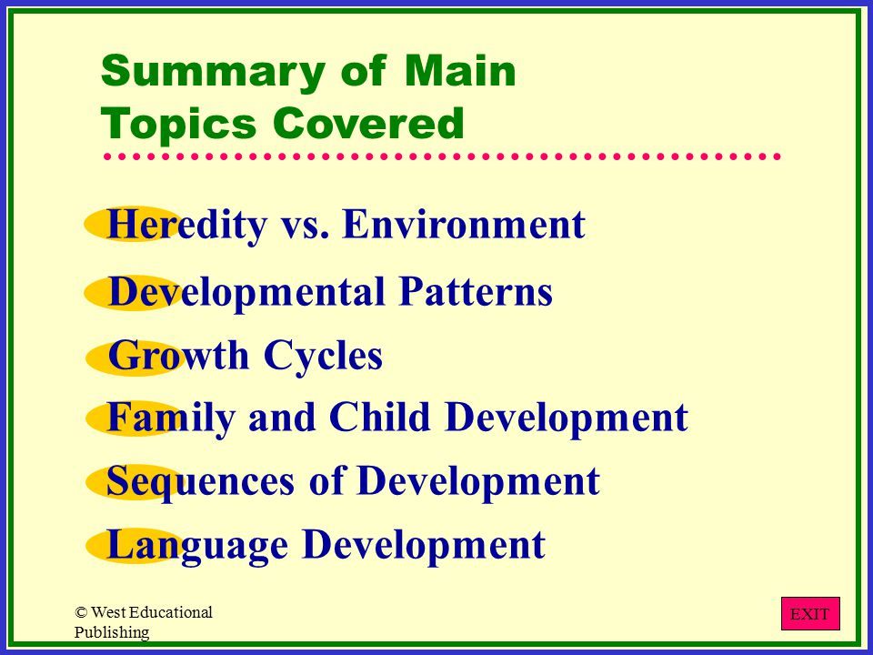 © West Educational Publishing Summary of Main Topics Covered Heredity vs.