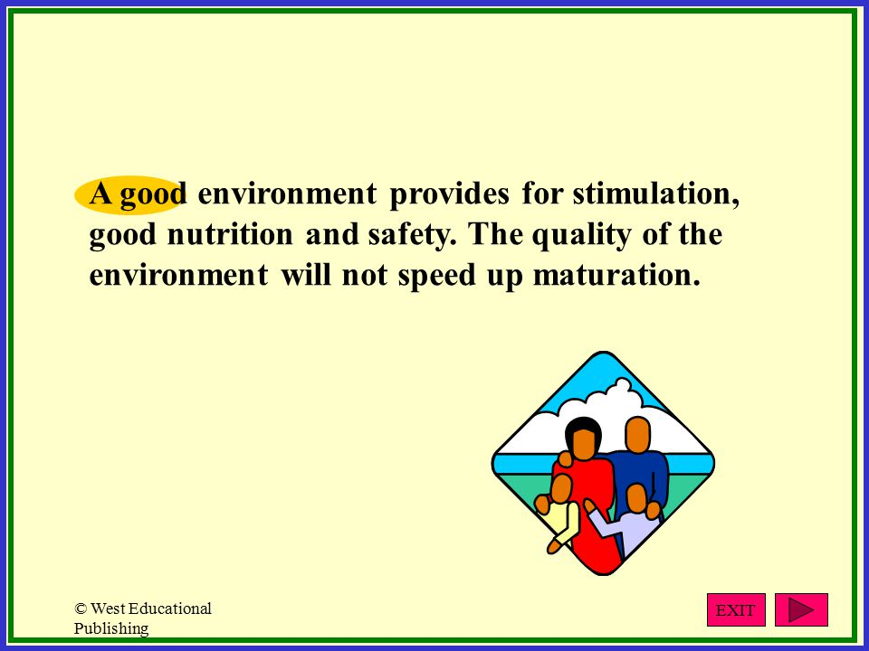 © West Educational Publishing A good environment provides for stimulation, good nutrition and safety.