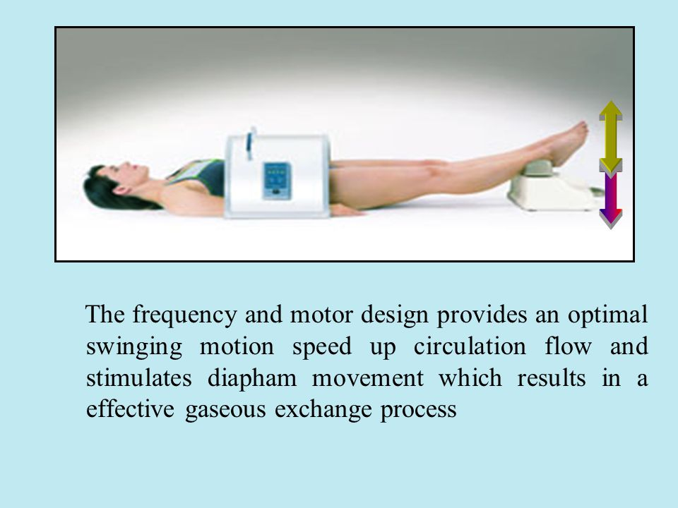 The frequency and motor design provides an optimal swinging motion speed up circulation flow and stimulates diapham movement which results in a effective gaseous exchange process