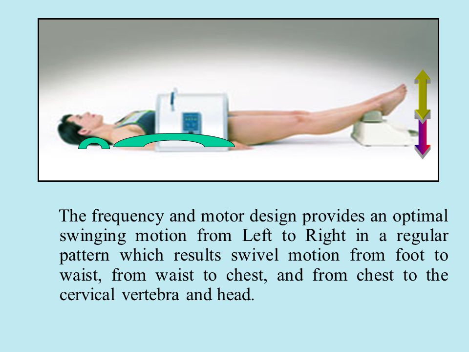 The frequency and motor design provides an optimal swinging motion from Left to Right in a regular pattern which results swivel motion from foot to waist, from waist to chest, and from chest to the cervical vertebra and head.