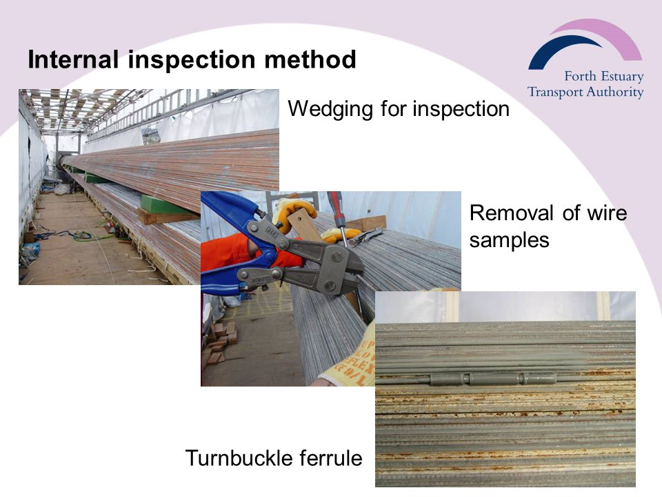 Internal inspection method Wedging for inspection Removal of wire samples Turnbuckle ferrule