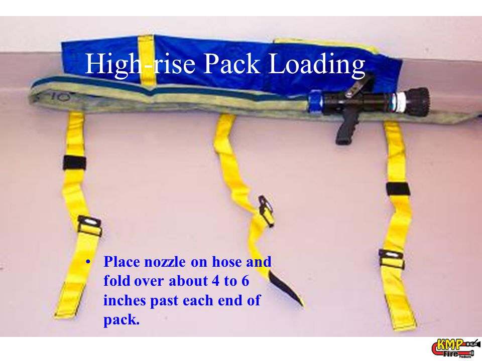 Place nozzle on hose and fold over about 4 to 6 inches past each end of pack. High-rise Pack Loading