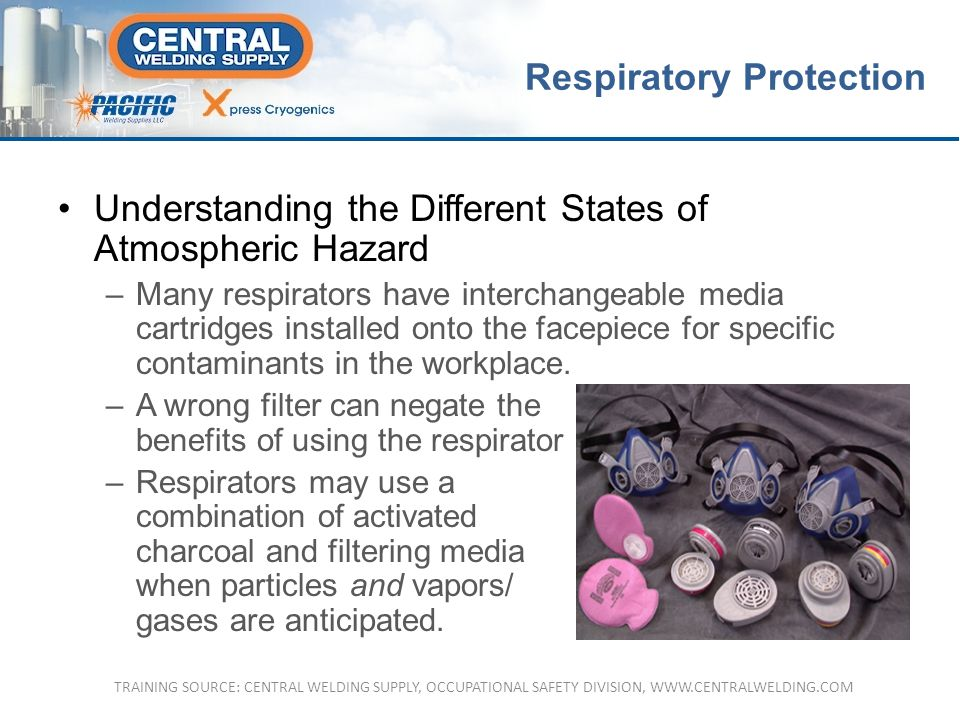 Understanding the Different States of Atmospheric HazardUnderstanding the Different States of Atmospheric Hazard –Many respirators have interchangeable media cartridges installed onto the facepiece for specific contaminants in the workplace.