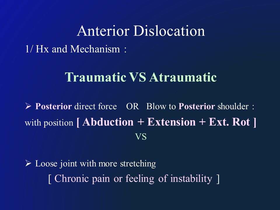 Anterior Dislocation 1/ Hx and Mechanism : Traumatic VS Atraumatic  Posterior direct force OR Blow to Posterior shoulder : with position [ Abduction + Extension + Ext.