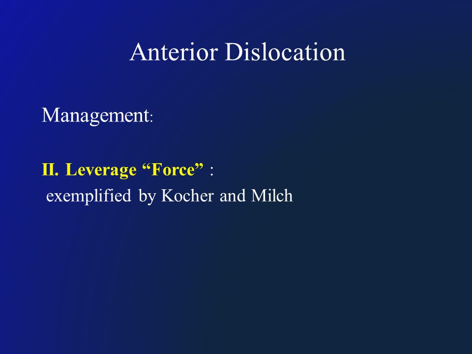 "Anterior Dislocation Management : II. Leverage ""Force"" : exemplified by Kocher and Milch"