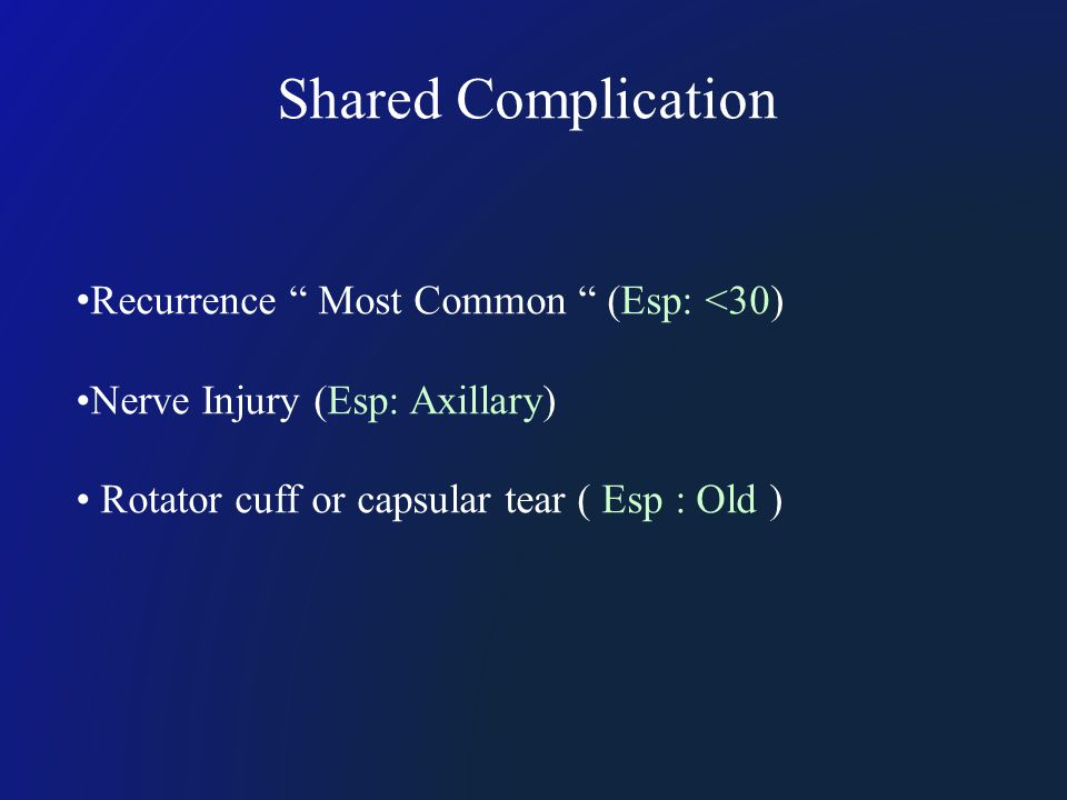 "Shared Complication Recurrence "" Most Common "" (Esp: <30) Nerve Injury (Esp: Axillary) Rotator cuff or capsular tear ( Esp : Old )"