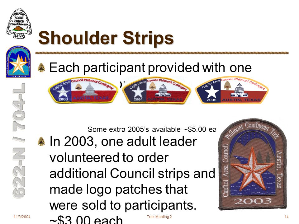 11/3/2004Trek Meeting 214 Shoulder Strips Each participant provided with one Council strip: Some extra 2005's available ~$5.00 each In 2003, one adult leader volunteered to order additional Council strips and made logo patches that were sold to participants.