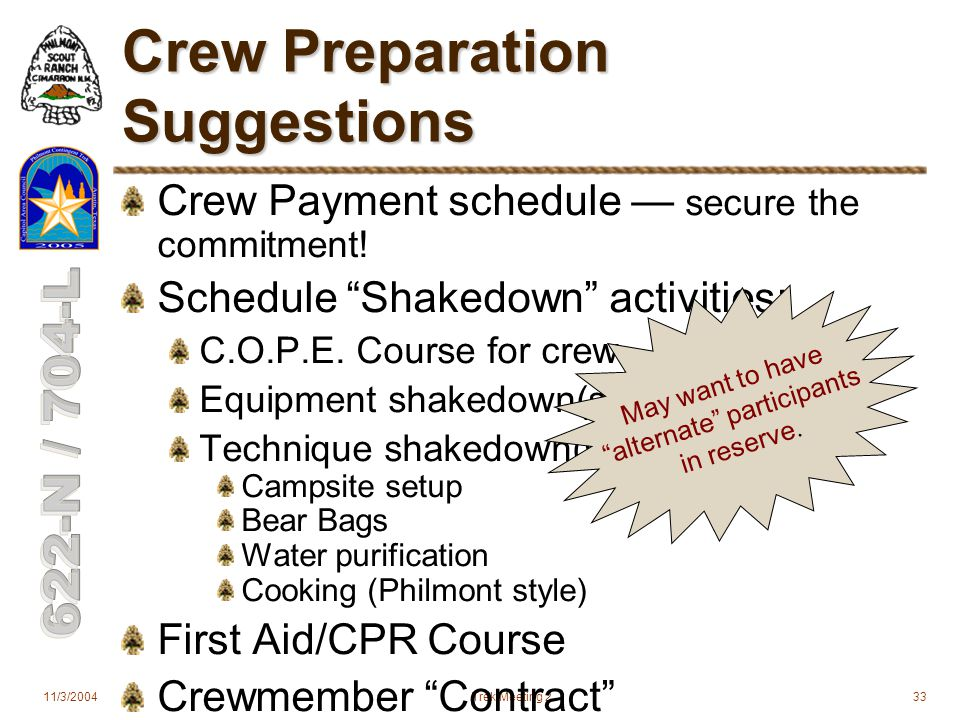 11/3/2004Trek Meeting 233 Crew Preparation Suggestions Crew Payment schedule — secure the commitment.