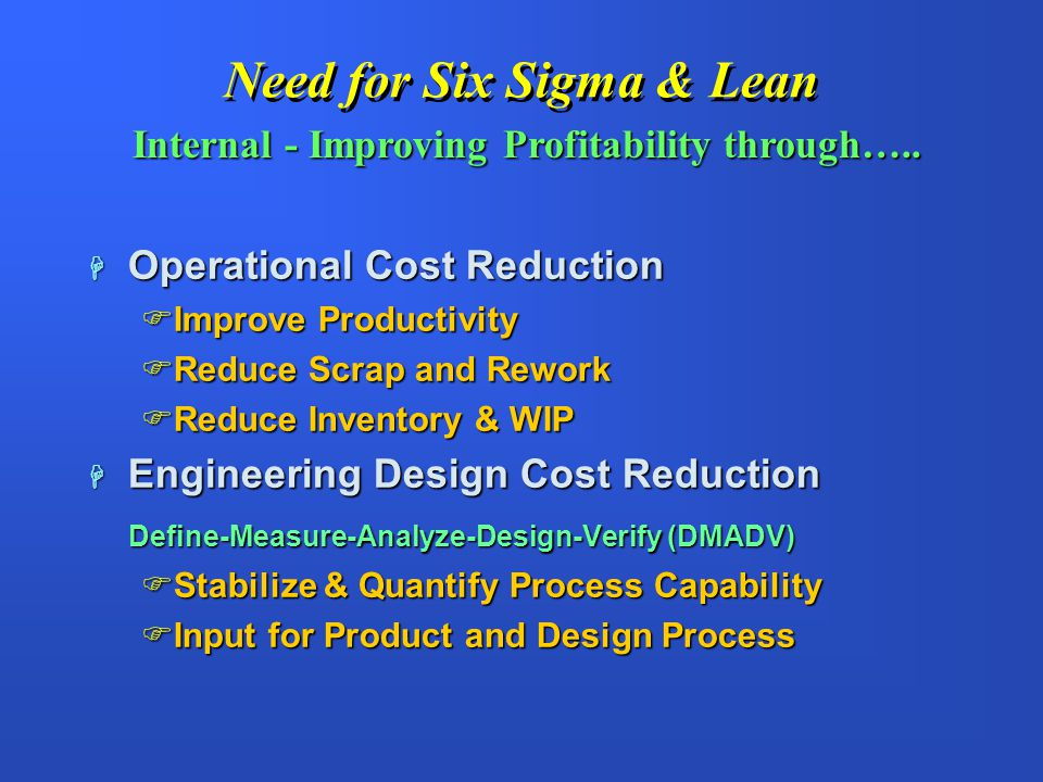 Need for Six Sigma & Lean H Quality, Warranty, and Cost H Customers Require Six Sigma H Customers Require Lean Manufacturing H Competitors are implementing Lean & Six Sigma H Staying in business External - Satisfying Customers…..