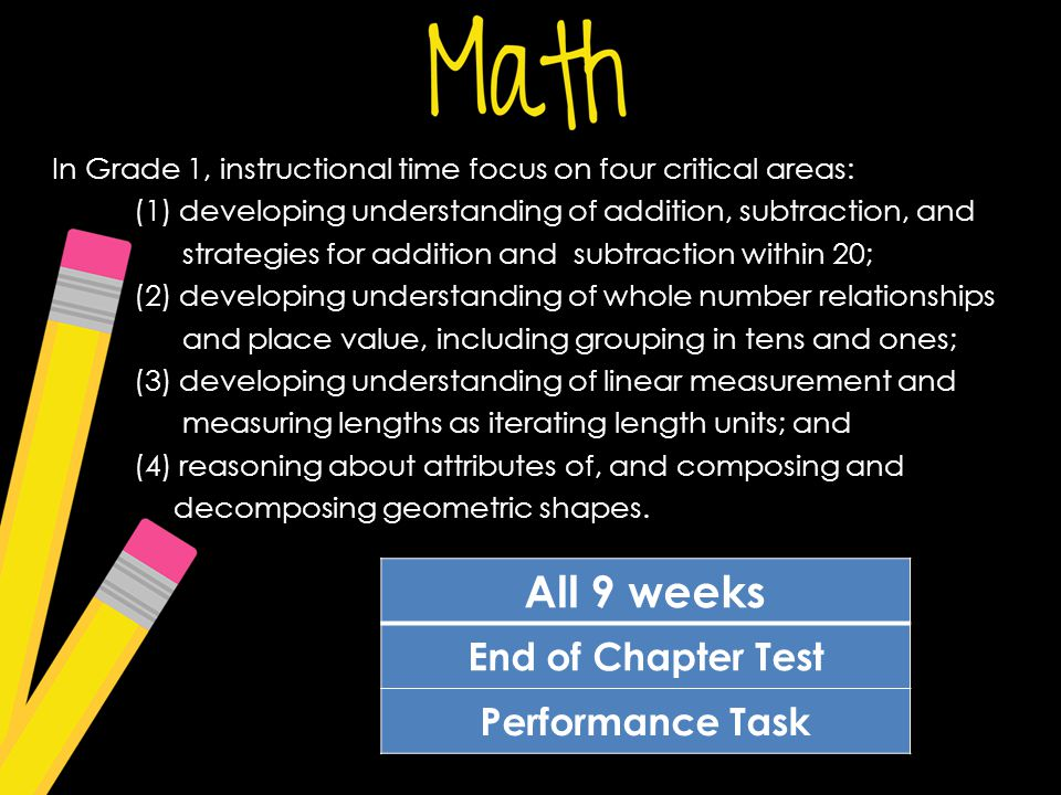 In Grade 1, instructional time focus on four critical areas: (1) developing understanding of addition, subtraction, and strategies for addition and subtraction within 20; (2) developing understanding of whole number relationships and place value, including grouping in tens and ones; (3) developing understanding of linear measurement and measuring lengths as iterating length units; and (4) reasoning about attributes of, and composing and decomposing geometric shapes.