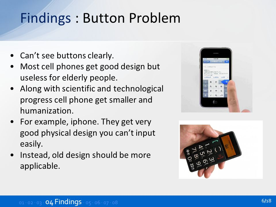 Findings : Volume Problem Sometimes when the calls in, elderly people cannot hear phone ring.