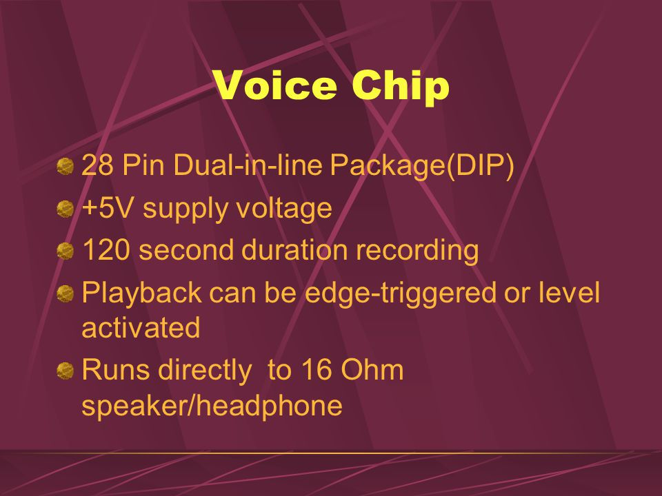 Voice Chip 28 Pin Dual-in-line Package(DIP) +5V supply voltage 120 second duration recording Playback can be edge-triggered or level activated Runs di