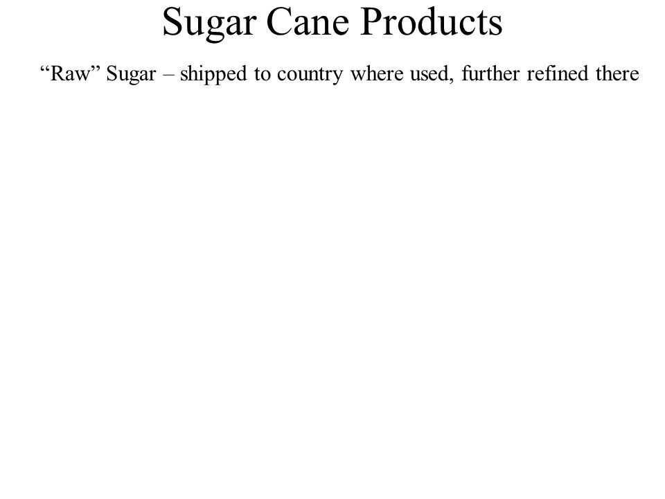 "Sugar Cane Products ""Raw"" Sugar – shipped to country where used, further refined there"
