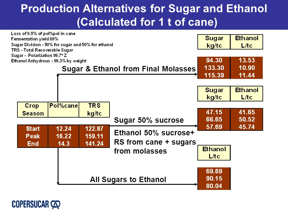 Production Alternatives for Sugar and Ethanol (Calculated for 1 t of cane) Sugar & Ethanol from Final Molasses Sugar 50% sucrose Ethanol 50% sucrose+ RS from cane + sugars from molasses All Sugars to Ethanol