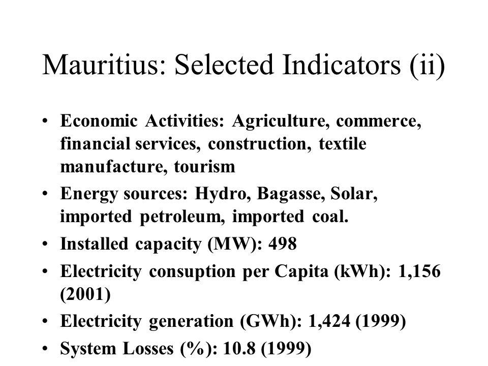Mauritius: Selected Indicators (ii) Economic Activities: Agriculture, commerce, financial services, construction, textile manufacture, tourism Energy sources: Hydro, Bagasse, Solar, imported petroleum, imported coal.