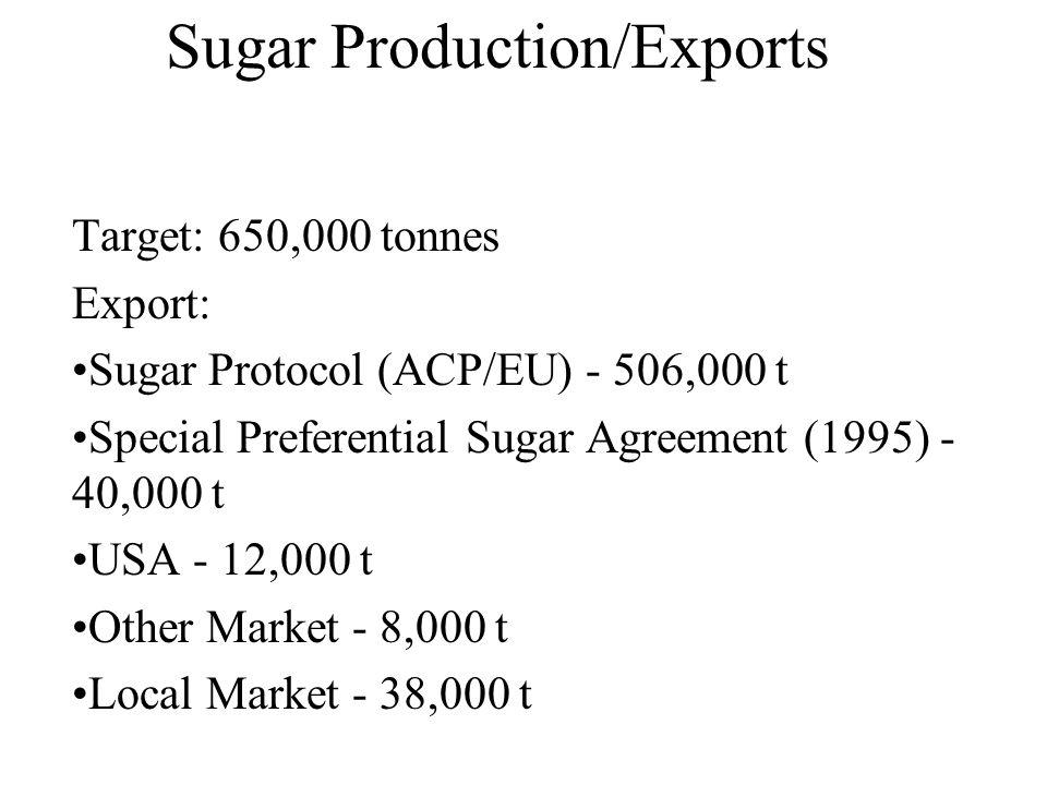 Sugar Production/Exports Target: 650,000 tonnes Export: Sugar Protocol (ACP/EU) - 506,000 t Special Preferential Sugar Agreement (1995) - 40,000 t USA - 12,000 t Other Market - 8,000 t Local Market - 38,000 t
