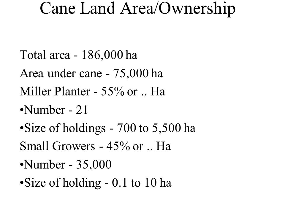 Cane Land Area/Ownership Total area - 186,000 ha Area under cane - 75,000 ha Miller Planter - 55% or.. Ha Number - 21 Size of holdings - 700 to 5,500