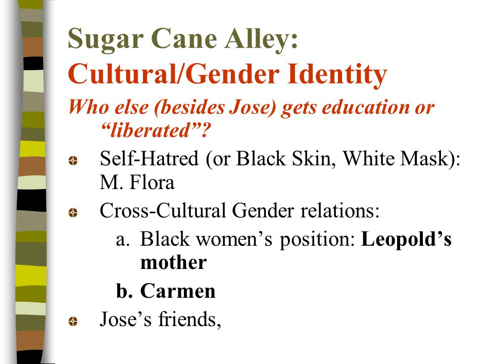 Sugar Cane Alley: Cultural/Gender Identity Who else (besides Jose) gets education or liberated .