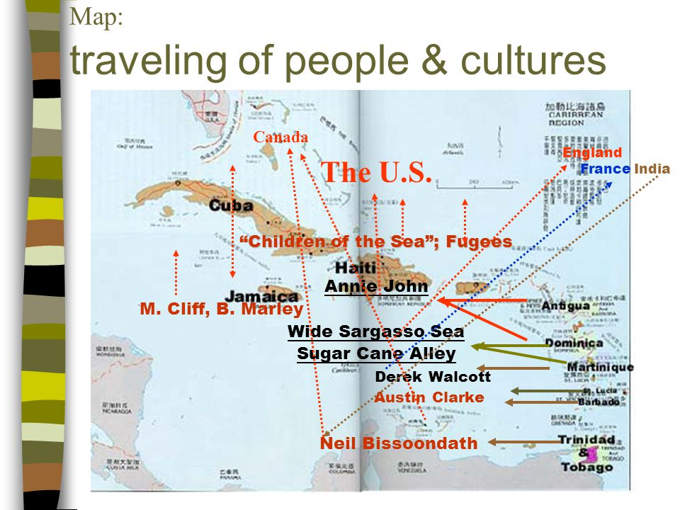 Map: traveling of people & cultures Canada The U.S.