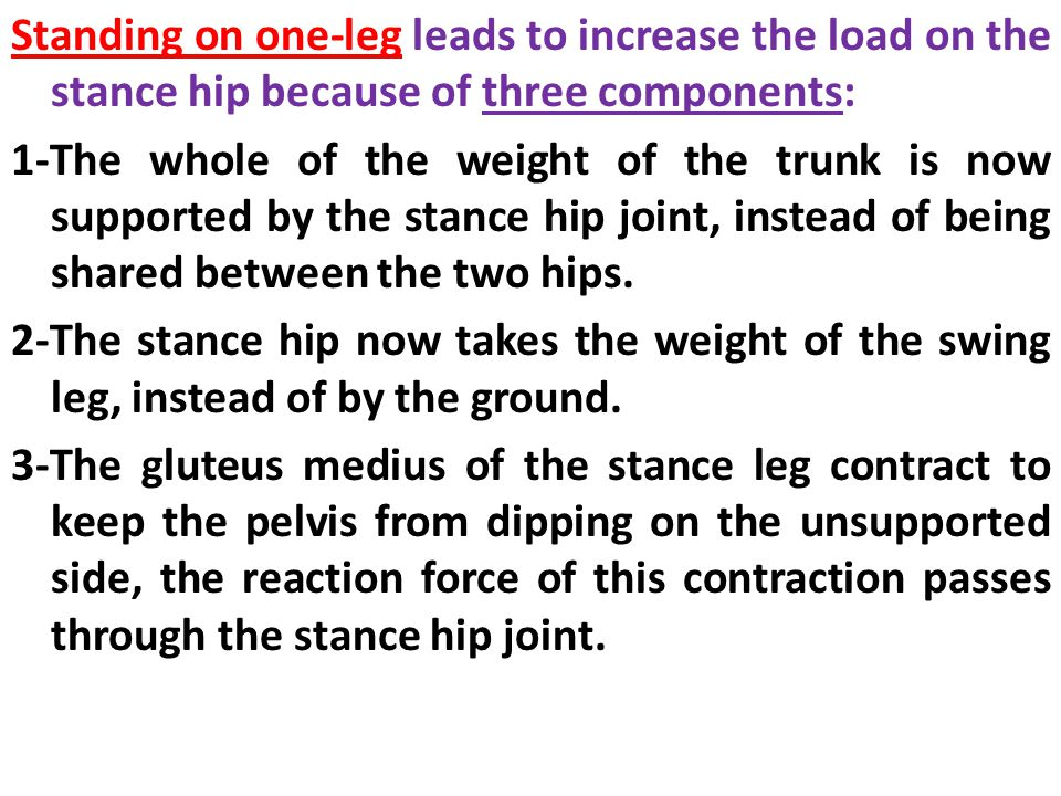 Standing on one-leg leads to increase the load on the stance hip because of three components: 1-The whole of the weight of the trunk is now supported