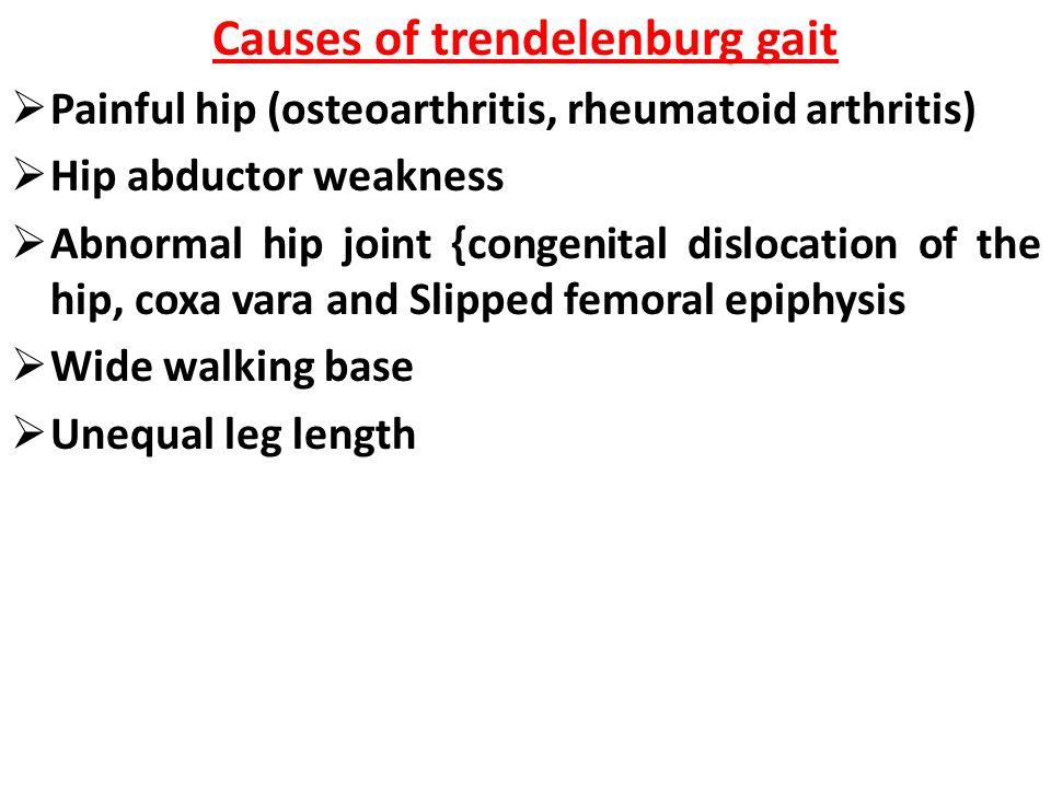 Causes of trendelenburg gait  Painful hip (osteoarthritis, rheumatoid arthritis)  Hip abductor weakness  Abnormal hip joint {congenital dislocation