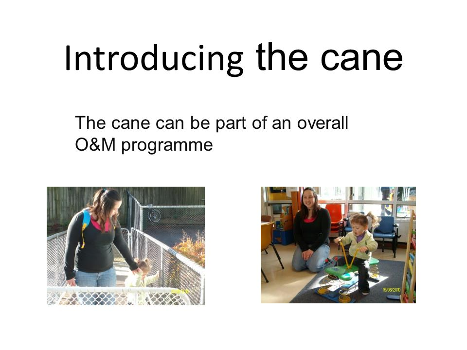 Introducing the cane The cane can be part of an overall O&M programme