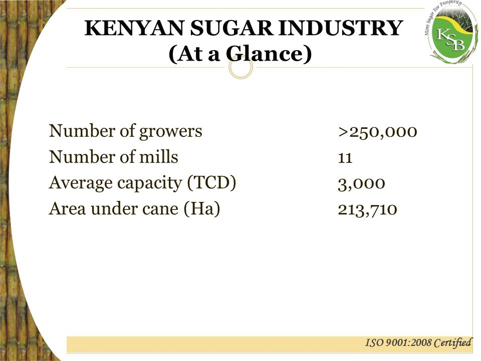 ISO 9001:2008 Certified KENYAN SUGAR INDUSTRY (At a Glance) Cane yield (t/ha)51.67 Cane Delivered (MT)5,822,633 TC/TS10.23 Sugar Produced(MT)493,937