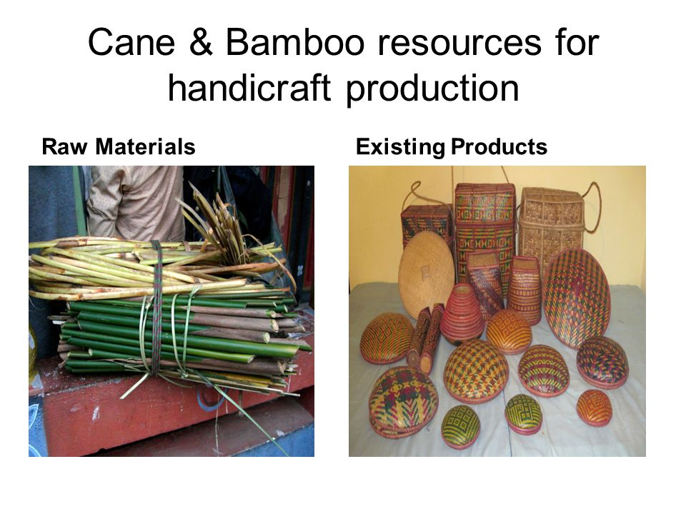 Cane & Bamboo resources for handicraft production Raw MaterialsExisting Products