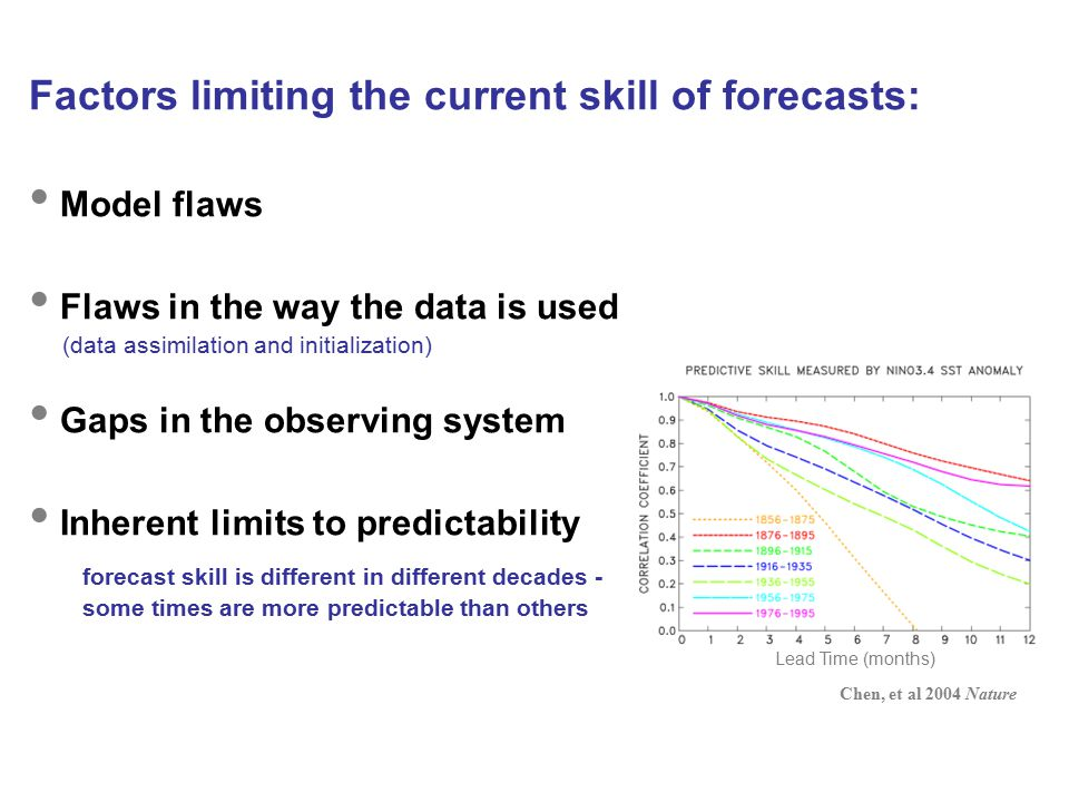 Factors limiting the current skill of forecasts: Model flaws Flaws in the way the data is used (data assimilation and initialization) Gaps in the observing system Inherent limits to predictability forecast skill is different in different decades - some times are more predictable than others Lead Time (months) Chen, et al 2004 Nature