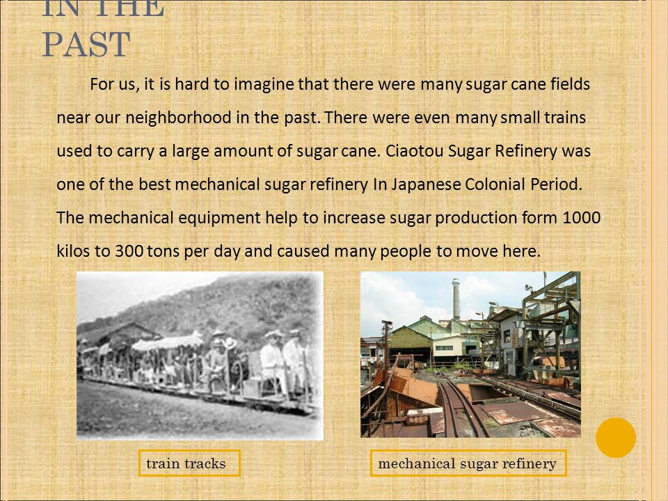 IN THE PAST For us, it is hard to imagine that there were many sugar cane fields near our neighborhood in the past.