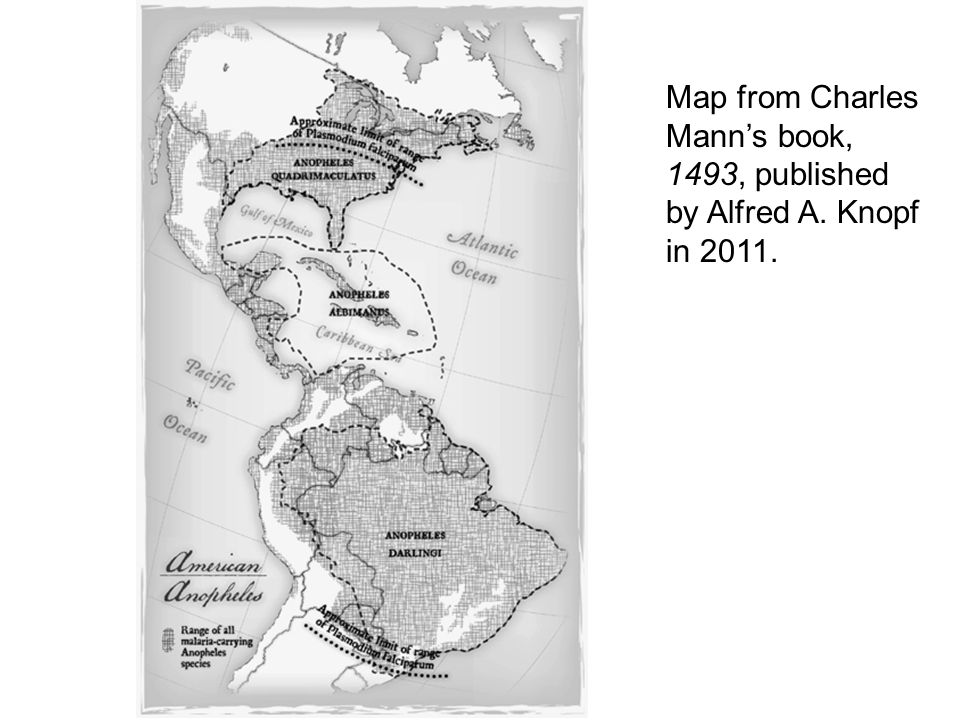 Map from Charles Mann's book, 1493, published by Alfred A. Knopf in 2011.