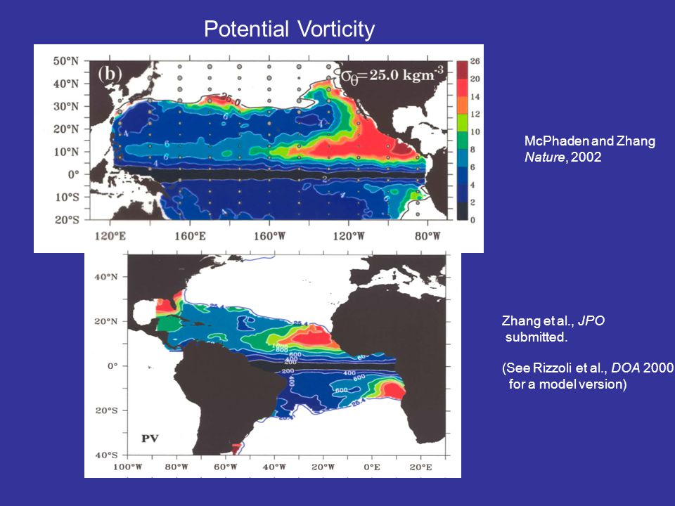 McPhaden and Zhang Nature, 2002 Potential Vorticity Zhang et al., JPO submitted.