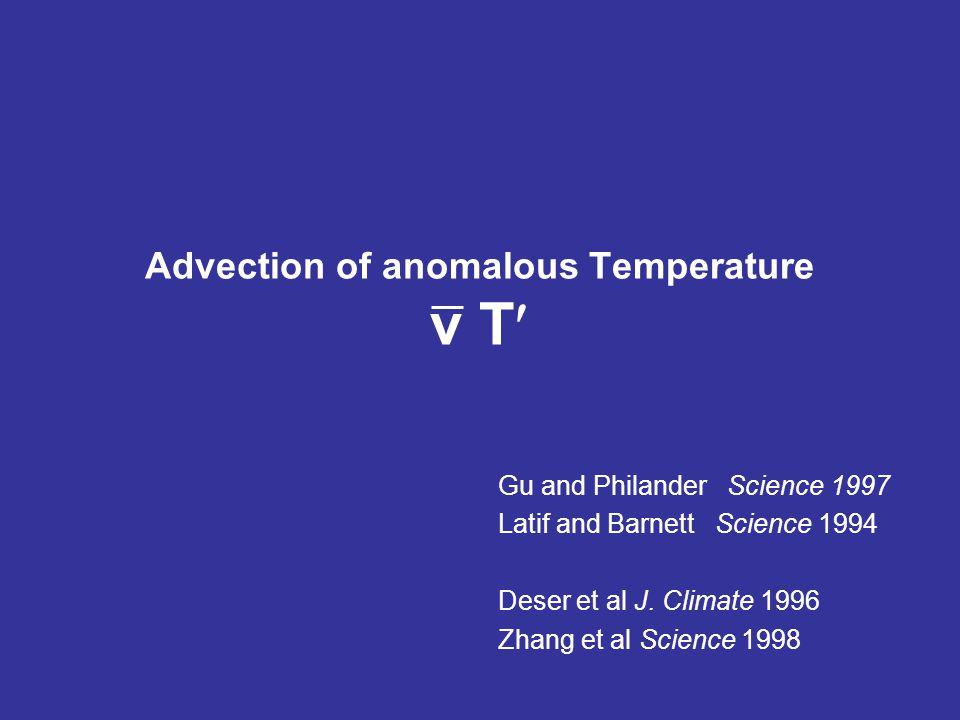 Advection of anomalous Temperature v T Gu and Philander Science 1997 Latif and Barnett Science 1994 Deser et al J.