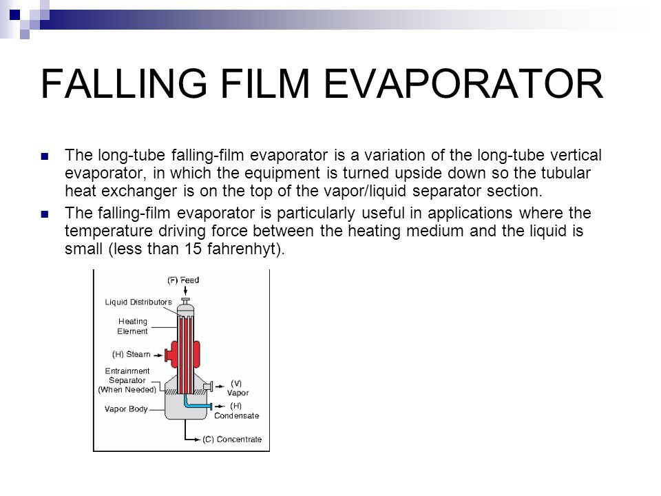 FALLING FILM EVAPORATOR The long-tube falling-film evaporator is a variation of the long-tube vertical evaporator, in which the equipment is turned upside down so the tubular heat exchanger is on the top of the vapor/liquid separator section.