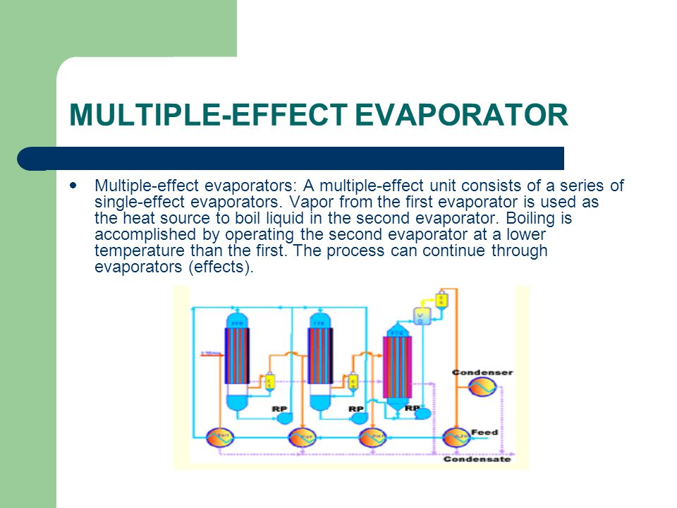 MULTIPLE-EFFECT EVAPORATOR  Multiple-effect evaporators: A multiple-effect unit consists of a series of single-effect evaporators.