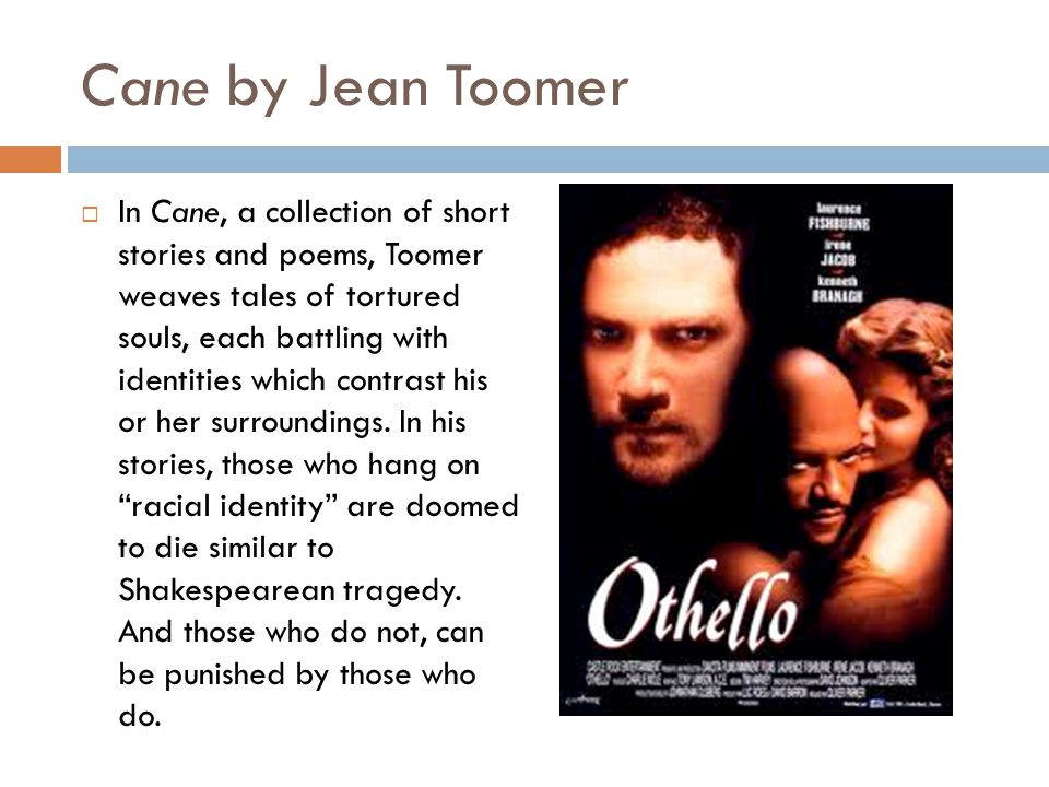 Cane by Jean Toomer  In Cane, a collection of short stories and poems, Toomer weaves tales of tortured souls, each battling with identities which con