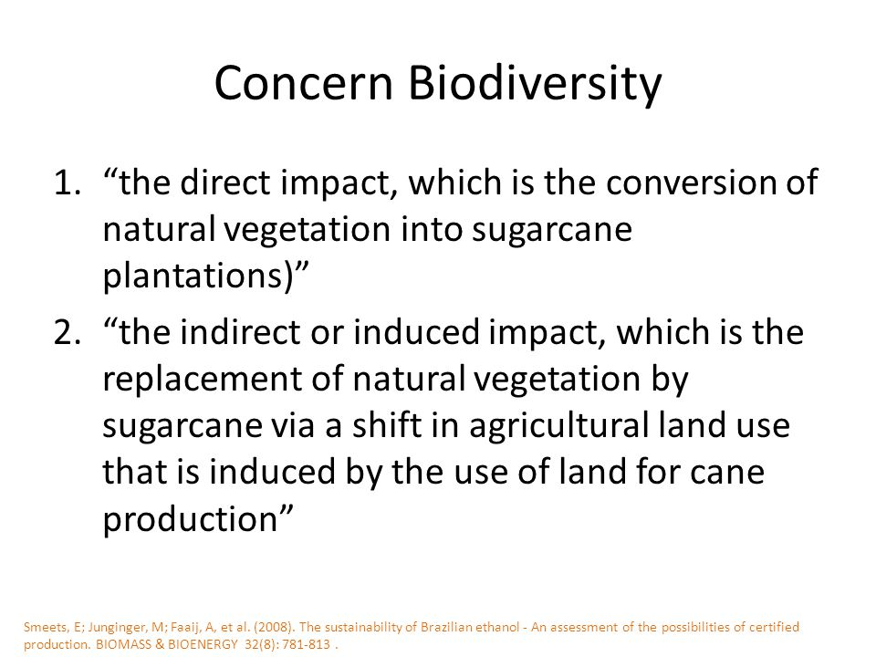 Concern Biodiversity 1. the direct impact, which is the conversion of natural vegetation into sugarcane plantations) 2. the indirect or induced impact, which is the replacement of natural vegetation by sugarcane via a shift in agricultural land use that is induced by the use of land for cane production Smeets, E; Junginger, M; Faaij, A, et al.