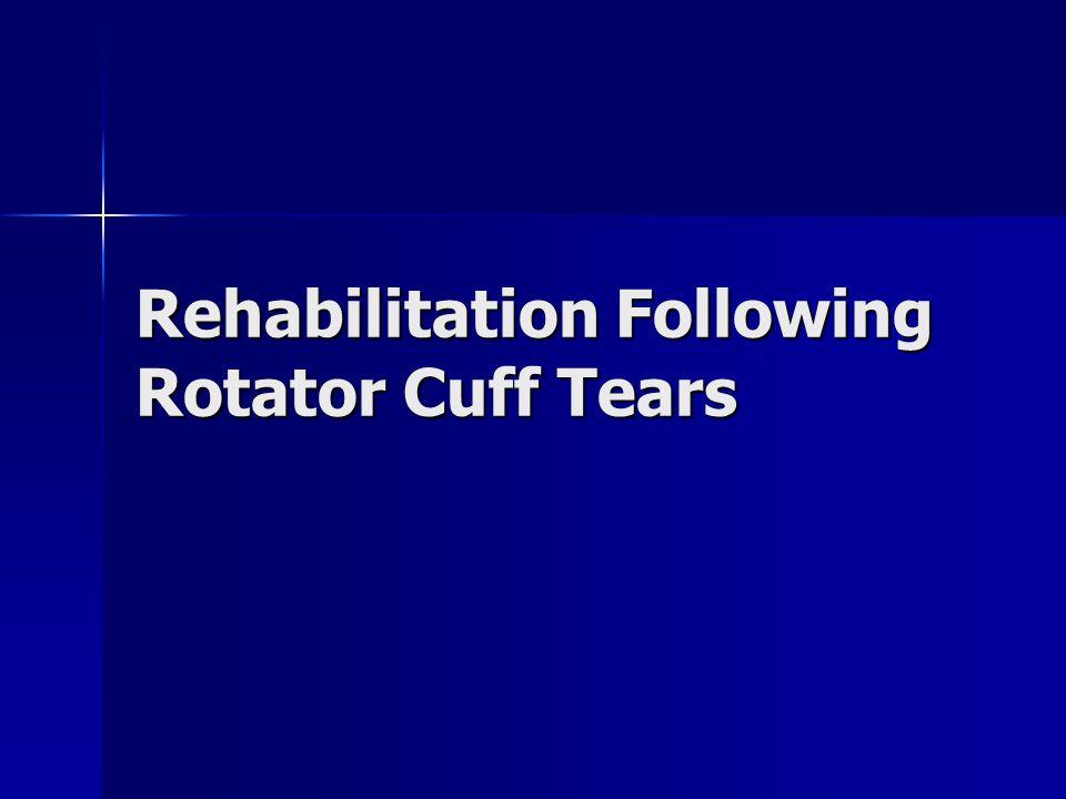 Rehabilitation Following Rotator Cuff Tears