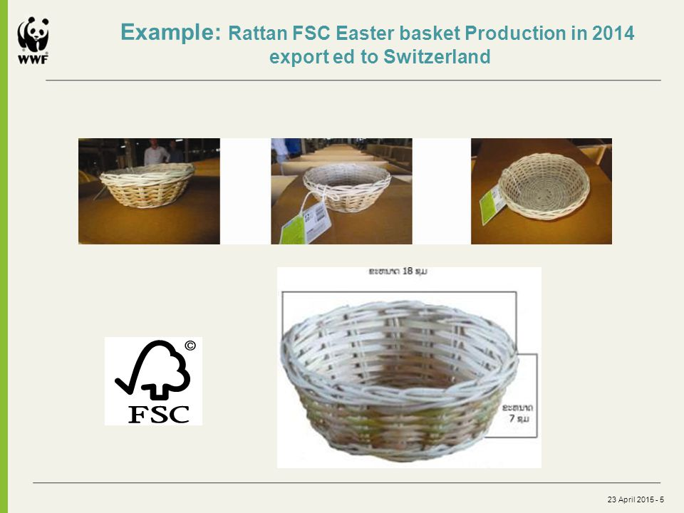 23 April 2015 - 5 Example: Rattan FSC Easter basket Production in 2014 export ed to Switzerland