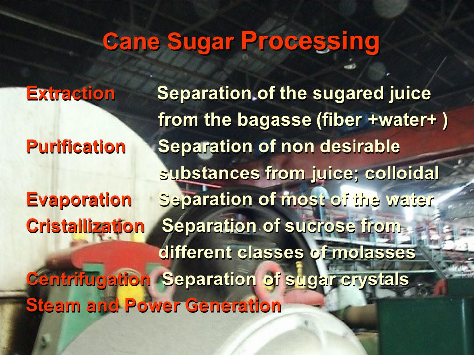 Cane Sugar Processing Extraction Separation of the sugared juice from the bagasse (fiber +water+ ) Purification Separation of non desirable substances from juice; colloidal Evaporation Separation of most of the water Cristallization Separation of sucrose from different classes of molasses Centrifugation Separation of sugar crystals Steam and Power Generation Extraction Separation of the sugared juice from the bagasse (fiber +water+ ) Purification Separation of non desirable substances from juice; colloidal Evaporation Separation of most of the water Cristallization Separation of sucrose from different classes of molasses Centrifugation Separation of sugar crystals Steam and Power Generation