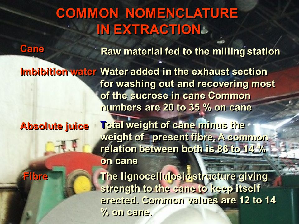 COMMON NOMENCLATURE IN EXTRACTION COMMON NOMENCLATURE IN EXTRACTION Cane Raw material fed to the milling station Imbibition water Absolute juice Fibre Water added in the exhaust section for washing out and recovering most of the sucrose in cane Common numbers are 20 to 35 % on cane Total weight of cane minus the weight of present fibre.
