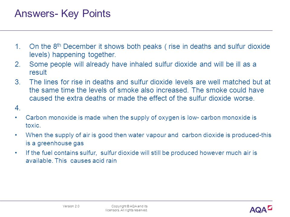 Answers- Key Points Version 2.0 Copyright © AQA and its licensors.