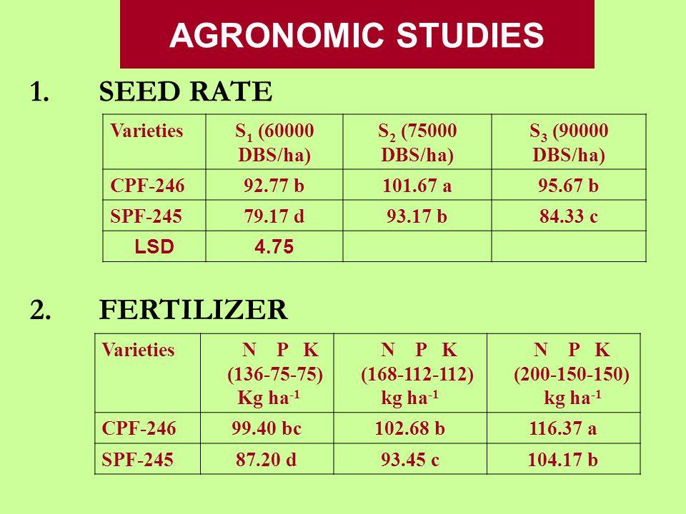 AGRONOMIC STUDIES 1.SEED RATE VarietiesS 1 (60000 DBS/ha) S 2 (75000 DBS/ha) S 3 (90000 DBS/ha) CPF-24692.77 b101.67 a95.67 b SPF-24579.17 d93.17 b84.33 c LSD4.75 2.FERTILIZER Varieties N P K (136-75-75) Kg ha -1 N P K (168-112-112) kg ha -1 N P K (200-150-150) kg ha -1 CPF-24699.40 bc102.68 b116.37 a SPF-24587.20 d93.45 c104.17 b